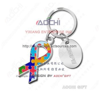 Free Shipping Newest Best Selling High Quality Autism Awareness Jigsaw Puzzle Ribbon Keychains