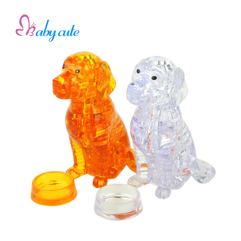 Lovely Dog Puzzle 3D Crystal Puzzle Animal Assembled Model Environmental Friendly Material Jouet Cartoon Puppies DIY Gift(China (Mainland))