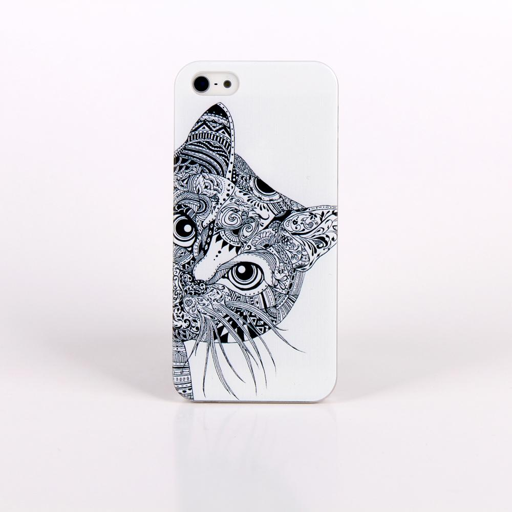 Black Cute Cat Design Phone Case For Apple i Phone iPhone 4 4s Case Painting Protective Cover Case For iPhone4 iPhone4s girl's