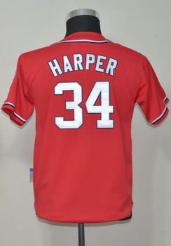 #34 Bryce Harper Kids Youth Authentic Alternate Red Cool Base Baseball Jersey