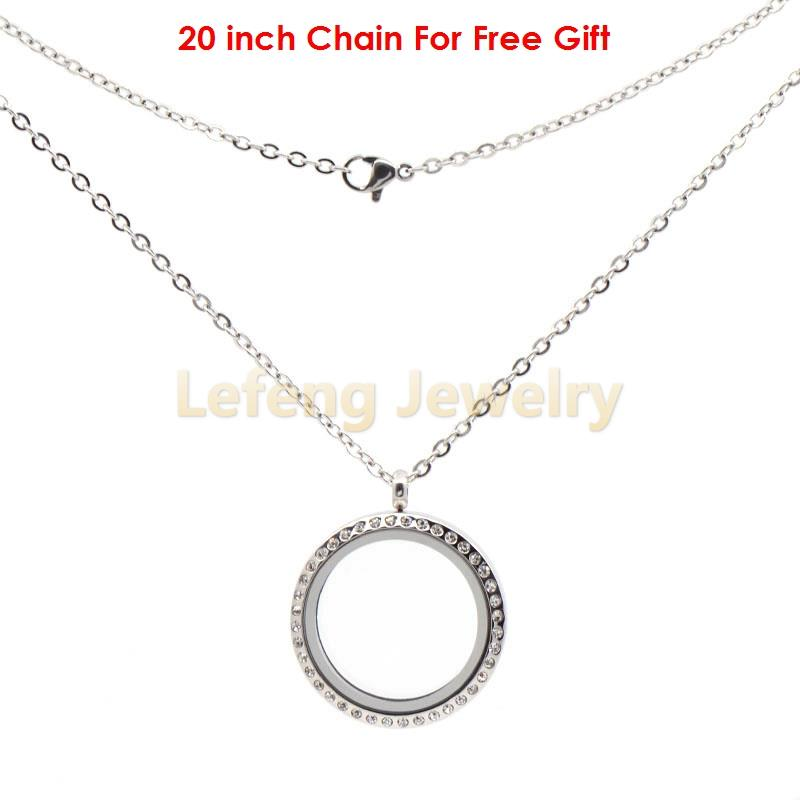 30mm Round Silver Crystal Stainless Steel Floating Locket With Free 20'' Chain,Magnetic Memory Charm Lockets Pendants Necklace(China (Mainland))