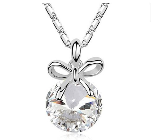 Bow crystal pendant necklace imported crystal high-quality real gold necklace jewelry LM-S065-N(China (Mainland))