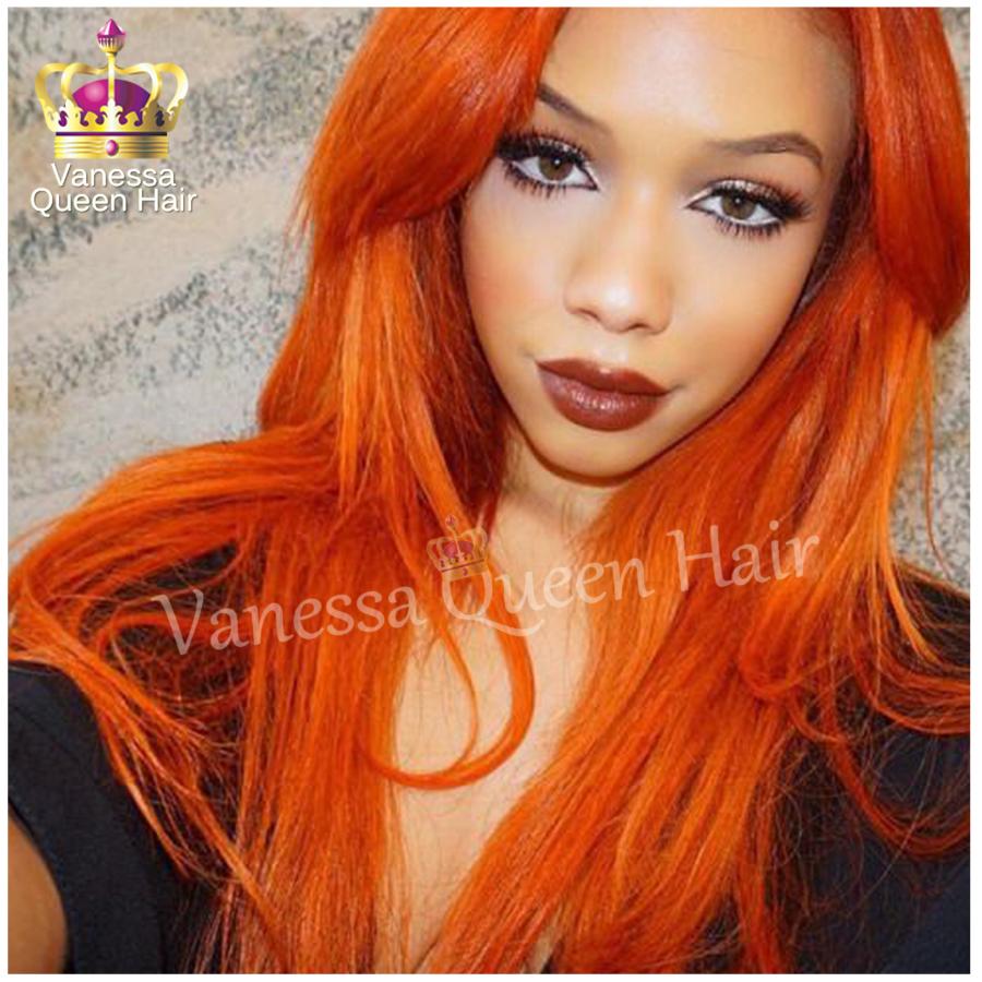 Orange Hair Wig Nature Girl Wigs