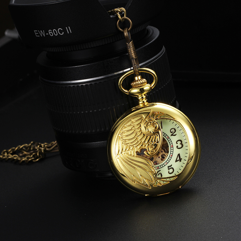Skeleton Roman numerals Gold Plated Mens Analog Mechanical Hand Winding Pocket Watch 3colors<br><br>Aliexpress