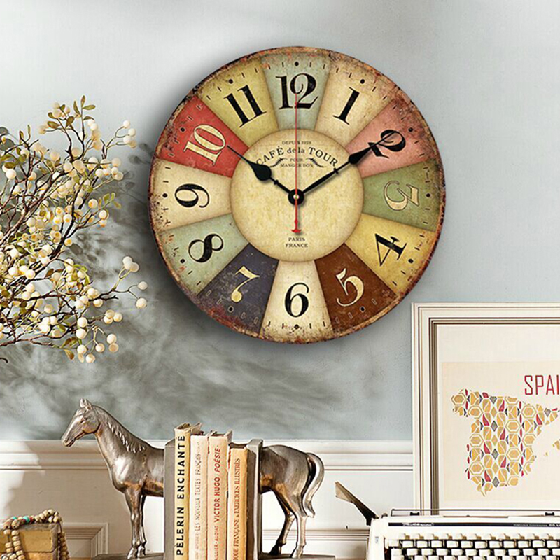 Antique Vintage Round Wood Wall Clock Classical Wall Clocks Shabby Rustic Art Home Coffee Bar Decoration(China (Mainland))