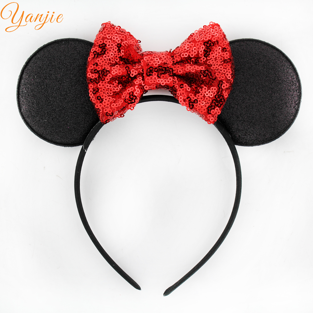 10pcs/lot Minnie Mickey Ear With 4'' Glitter Sequin Bow On Colored Satin Covered Resin Hairbands For Girls Minnie Mouse Hairband(China (Mainland))