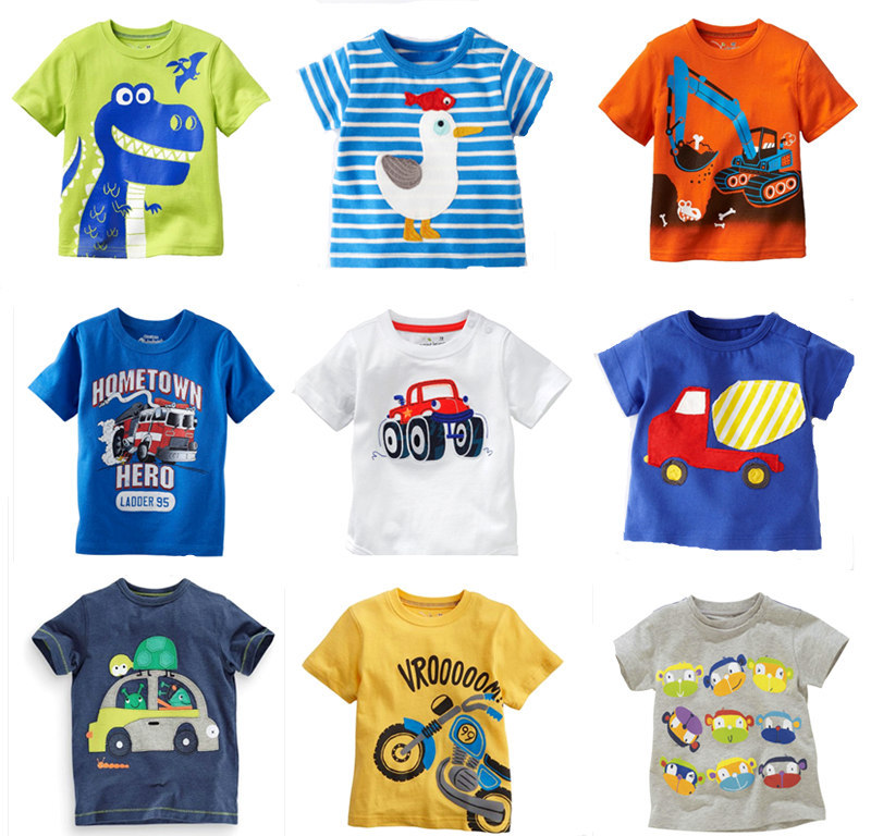 Retail 2015 New Brand 100%cotton summer children t shirts t shirt for boys kids chothes blouse clothing cartoon Casual dress(China (Mainland))