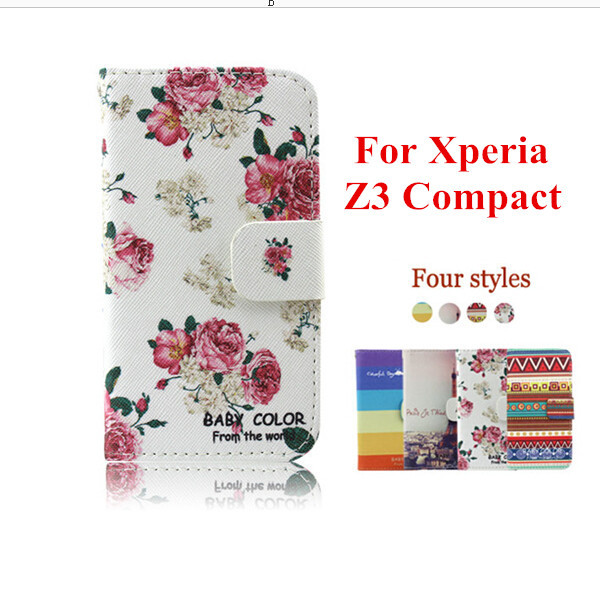 Stand Print PU Leather Cover Case Sony Xperia Z3 Compact Mini flip cover case soft tpu inside credit card slots - NO.1 store
