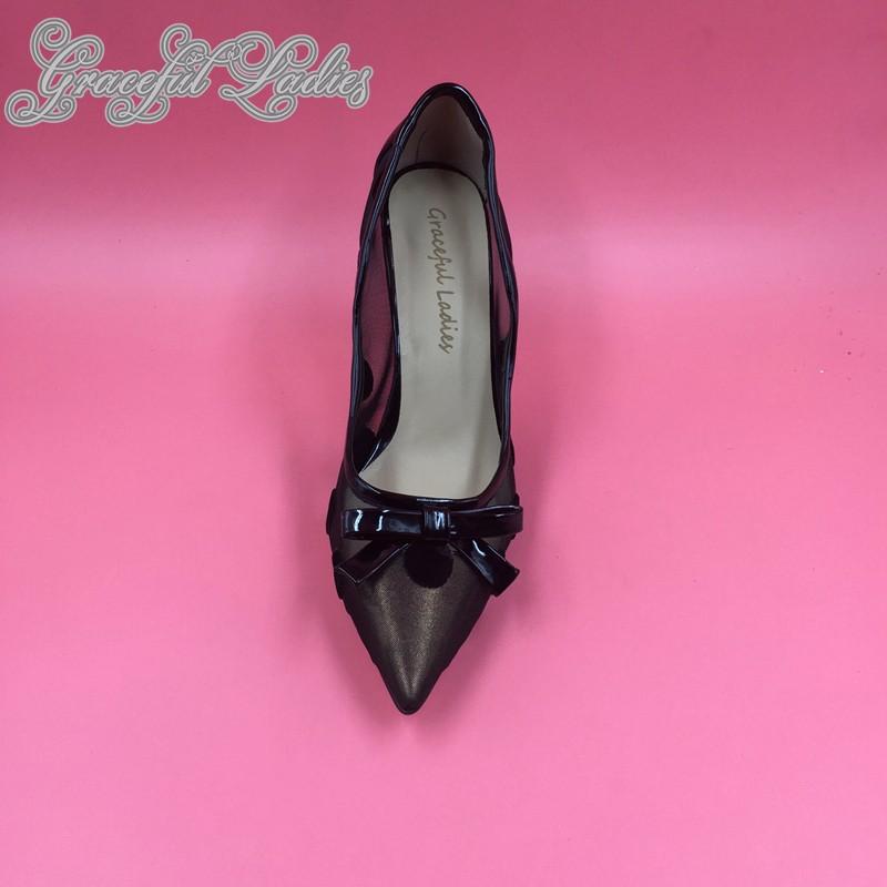 ซื้อ Dotพีวีซีชี้ปั๊มนิ้วเท้าตาข่ายสิทธิบัตรหนังส้นสูงส้นปั๊มรองเท้าแต่งงานSapato Feminino S Alto Altoรันเวย์รองเท้า