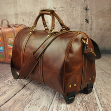 9557,Men's Boy's TOP Bull Leather very Large Luggage upright Trolley case gift Duffle Gym Bag Travel Sport Case tote handbag(China (Mainland))