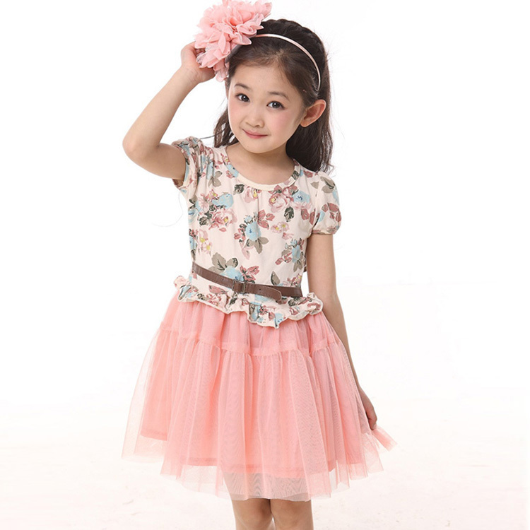 Hot selling 2015 elegant teenage girls dresses pink mesh tutu princess girls floral print dress with belt summer kids clothing(China (Mainland))
