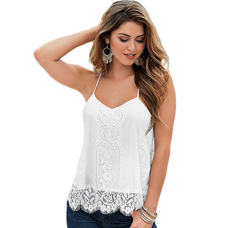 Scalloped white lace tank top women sexy 2016 new arrivals night club wear ladies tops crops for summer vestido de festa 25795(China (Mainland))