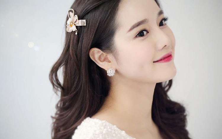 Design From Korea Real Gold Plated Flower With Full Of AAA+ Swiss Cubic Zirconia Diamond Stud Earring For Women Free Shipping(China (Mainland))