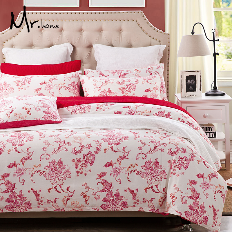 The import of Mrhome combed cotton printing four pieces of American cotton satin bedding textile Suite(China (Mainland))