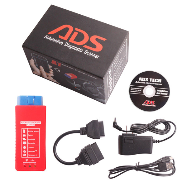 Free DHL or EMS 2016 ADS A1 Bluetooth OBDII Scanner Support Android Windows XP Work On Mobile Phone Tablet PC Laptop And Home PC(China (Mainland))