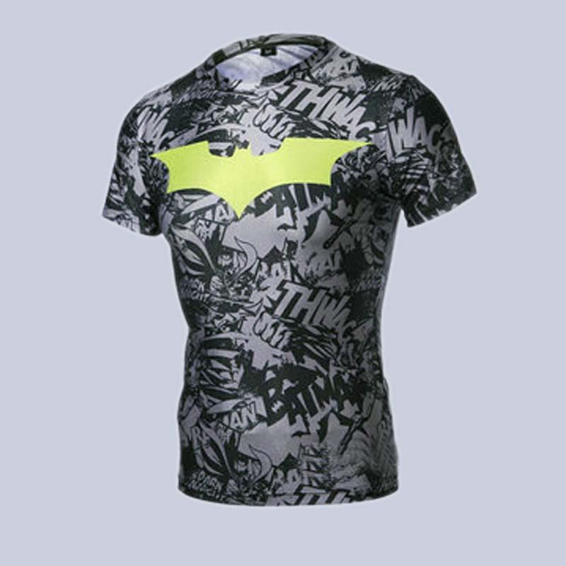 Free shipping 2015 new men steel beast compression shirt superman batman gym run train t shirt