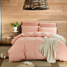 New Arrival Solid Sweet Pink Color Washed Cotton Bedding Set Farmhouse Style Queen King Size Bed 4Pcs Duvet Cover Set(China (Mainland))