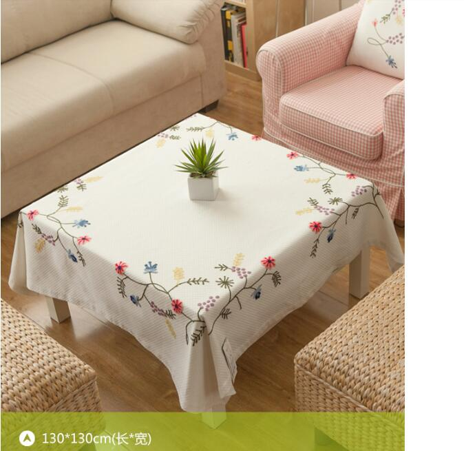 American style flower hand made embroidery dinning cotton table cloth coffee table cloth Linen air conditioner Covering cloth(China (Mainland))