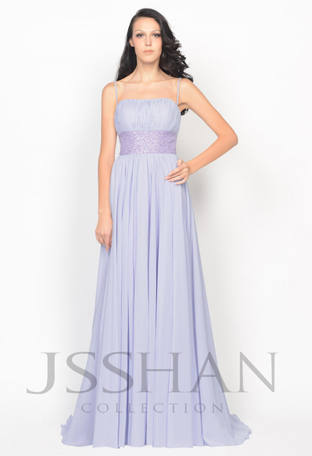 2015 New Classics Spaghetti Strap Waist Beads Chiffon Empire Elegant Unique Gorgeous Luxury Prom Evening Dress Long Prom Dress