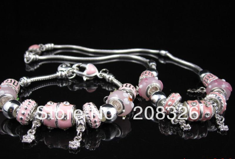 P86 / Christmas sale jewelry European Style 925 Silver blue beads pink charm bracelet&necklace sets