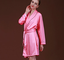 2016 new summer ladies sexy pajamas bathrobe Nightgown women's long sleeve fake silk bathrobe sleep robe smooth lady's robes(China (Mainland))