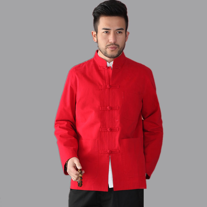 Traditional Chinese Classic Style Red Men Kung-fu Jacket Cotton Long sleeve Coat Size S M L XL XXL XXXL hombre chaqueta Mim17AОдежда и ак�е��уары<br><br><br>Aliexpress