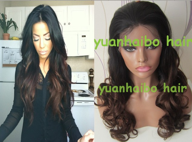 12-28 in stocks! ombre two tone #1b/#4 virgin Indian hair glueless ombre full lace wigs
