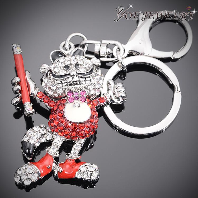 2015 New Brand Garfield Keychain High Quality Fashion Metal Key Chain Crystal Cat Key Holder For Women Car Accessories(China (Mainland))