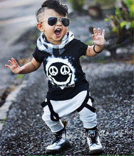 2016 Summer baby boy clothes new born baby clothing set cotton short sleeved gold printing t-shirt + pants 2pcs Infant clothing
