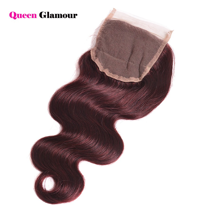 Top 7A Burgundy Peruvian Body Wave With Closure 99J Red Hair Bundles With Lace Closures 4×4 Swiss Lace Closure With 4 Bundles