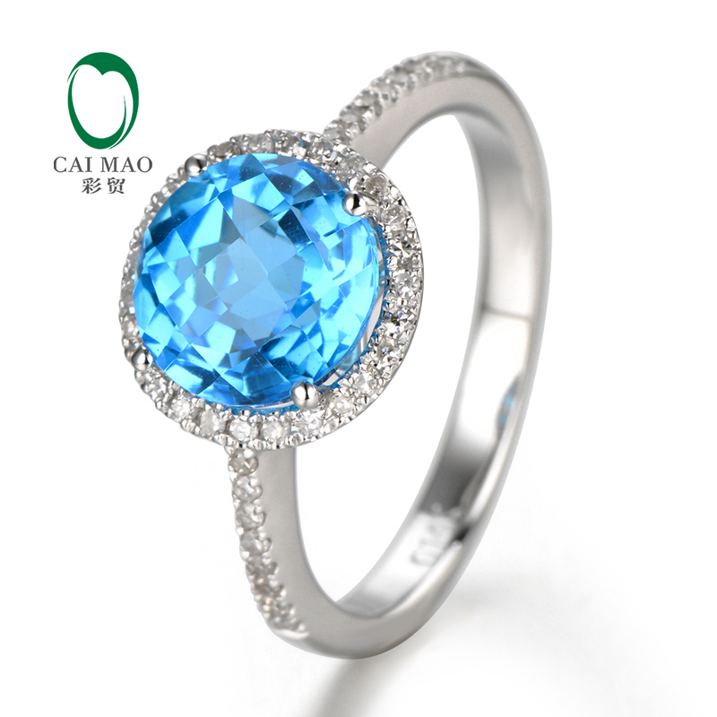 2.75CT Solid 14CT White Gold Natural Flawless Blue Topza &amp; Diamond ring, Wholesaler Jewelry, 14k Gold Ring<br><br>Aliexpress