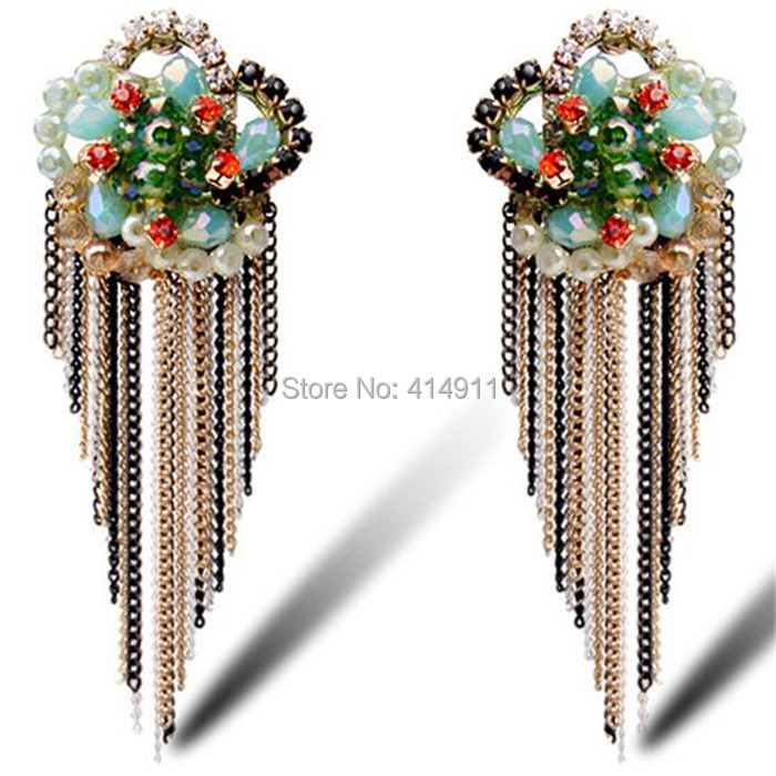 Trader zinc alloy temperament ear jewelry Alumni Association go to dinner party glass crystal tassel earrings 2015 free shipping(China (Mainland))