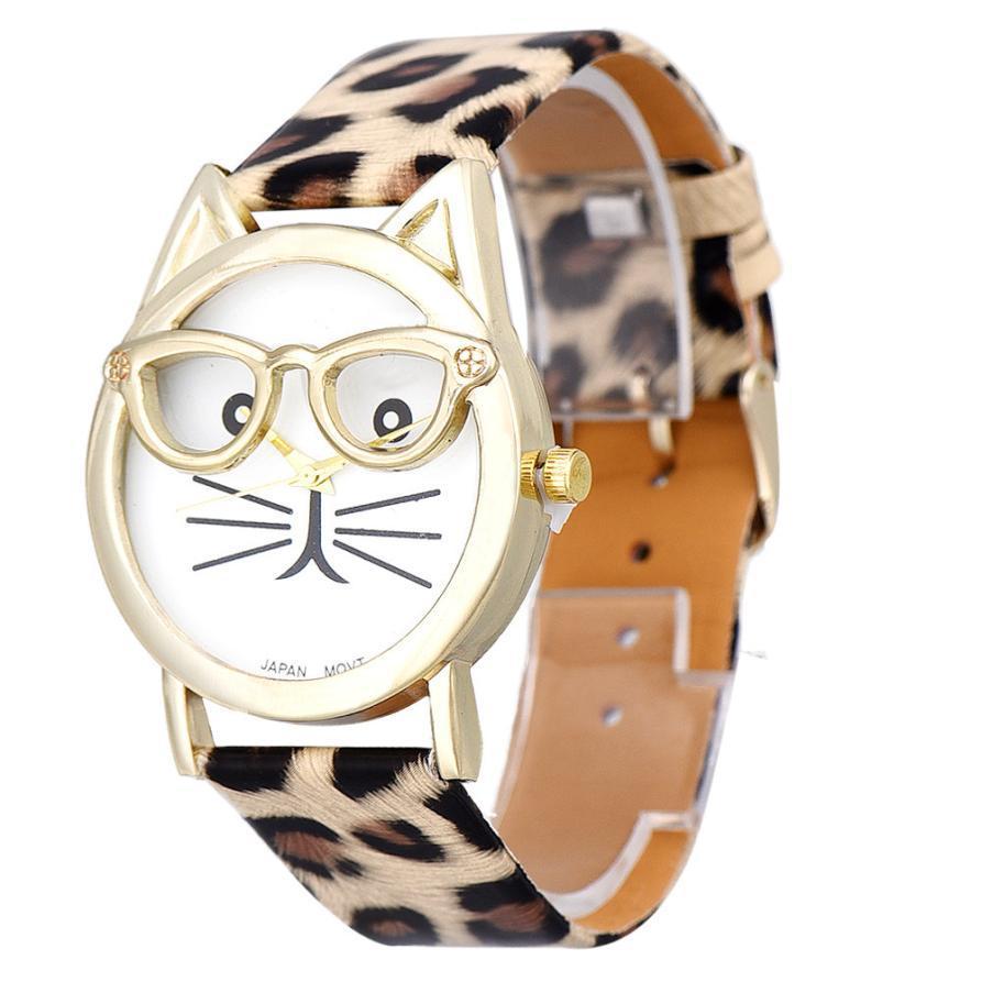 Essential Cute Glasses Cat Women Analog Quartz Dial WristWatch Bangle Bracelet Dress Relojes Wathes Relogio Feminino<br><br>Aliexpress