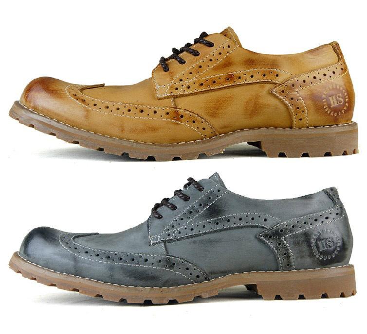 Men's Brogue Shoes Premium genuine leather Mens casual dress shoes Lace-up fashion oxford men