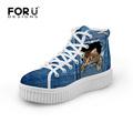 2016 New Fashion Women High Top Platform Shoes Jeans Denim 3D Cat Printed Shoes Casual Breathabler