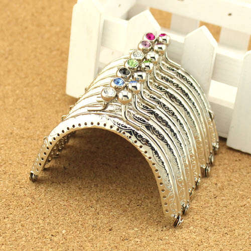 20PCS Retro Silver Coining Purse Frame 8.5CM Diamond Coin Kiss Clasp Purse Metal Frames Cluth DIY Sewing Bag Handle Accessories(China (Mainland))