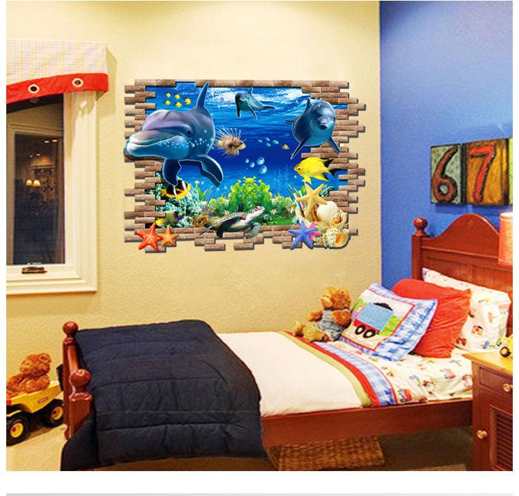 Diy 3d Home Decoration Underwater World Various Fish Ocean Wall Stickers Wallpaper Art Decor