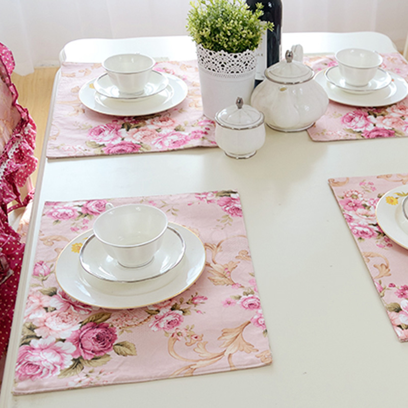 Fashion Flower Print Kitchen Dinning Table Colth Placemats For Table Mat Manteles Individuales Doilies Cup Mats Coaster Pad(China (Mainland))