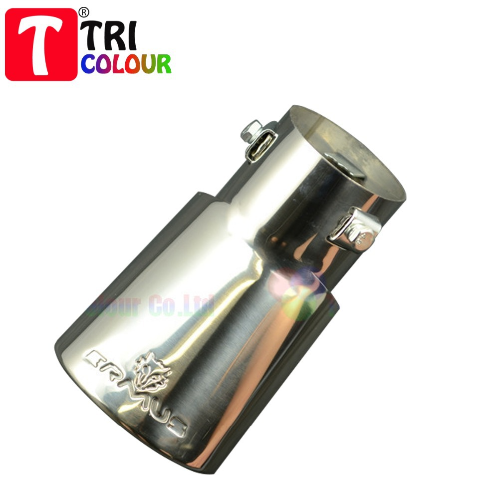 (Tricolor Muffler) 5pcs/lot Wholesale Stainless Steel Car End Exhaust Muffler Tail Rear Pipe Decoration Universal fit#LW125