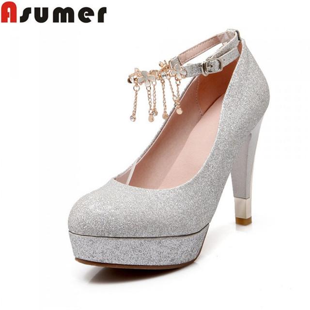 Большой размер 34 - 43 высокие каблуки туфли на высоком каблуке лодыжки ремень золото ...