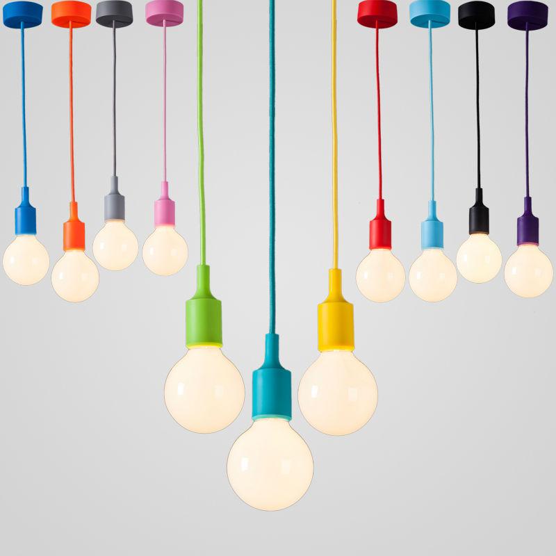 Modern Color Pendant Lights E27 Holder AC90-260V Silica Gel Material Store Art Single Head Dining-room Pendant Lamps(China (Mainland))