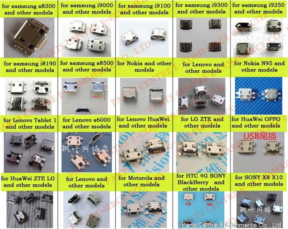 free shipping 100pcs/lot 20 models micro USB connector commonly used for HTC Samsung, Sony, nokia, ZTE ,lenovo and so on(China (Mainland))