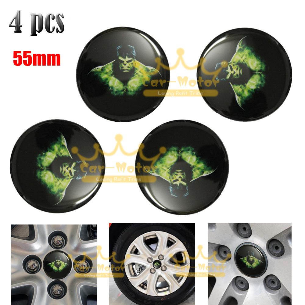 4pcs 55mm 3D Hulk Car Motorcycle Universal Steering Wheel Center Hub Cap Emblem Badge Stickers 0003(China (Mainland))