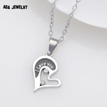 Wholesale Couple Lovers Necklaces Pendants 316L Stainless Chain men Necklaces I Love U Double Heart Necklace