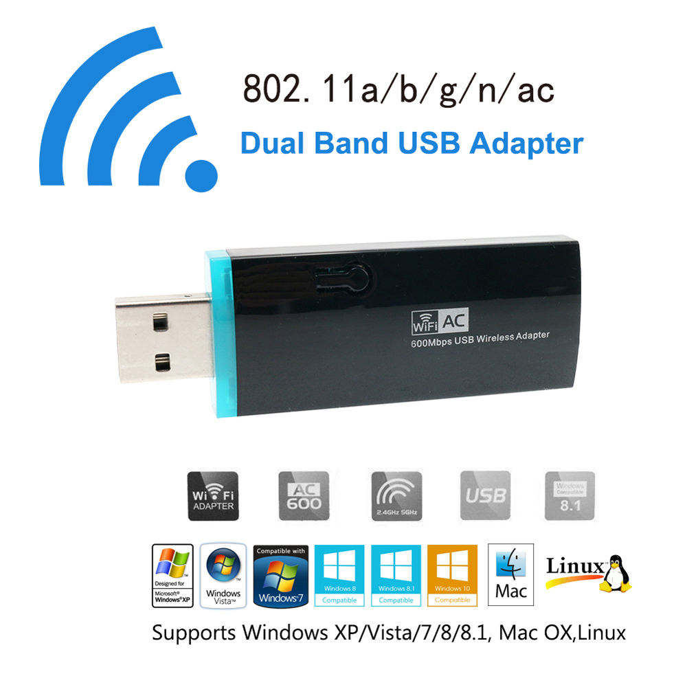 AC 600 WiFi Adapter Ultra Fast Dual Band USB 2.0 wireless Network Card 2.4Ghz 5GHz Mini Wireless-N Dongle for PC TV Box Desktop(China (Mainland))