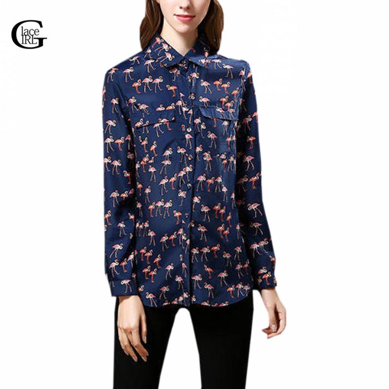 Lace Girl 2016 Autumn Women Long Sleeve OL Shirts Ladies ...