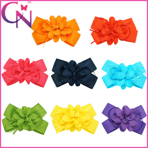 Free Shipping 8 Colors Baby Kids Girls Childrens Hairbow Solid Boutique Grosgrain Ribbon Flower On Hair Bow 30pcs CNHBW-15042311(China (Mainland))