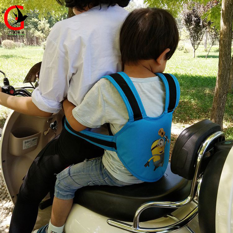 Cartoon Motorcycle Back hold Vest Safety Belt Adjustable Electric Riding Vehicle Safe Strap Carrier Harness(China (Mainland))