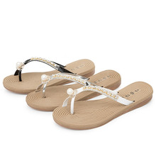 2016 Summer Women Shoes Casual Brand Woman Flip Flops Patent Leather Crystal Pearl Sandales Tongs Femmes