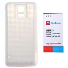Link Dream High Quality 7800mAh Mobile Phone Battery & Scrubs Cover Back Door for Samsung Galaxy S5  G900 (White)
